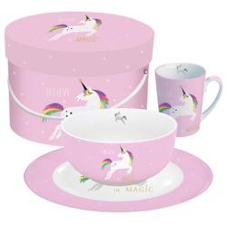 Porcelán reggeliző szett 3db-os, díszdobozban, Pink Unicorn