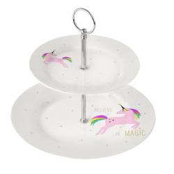 Porcelán süteményes állvány 27x25cm, White Unicorn pink