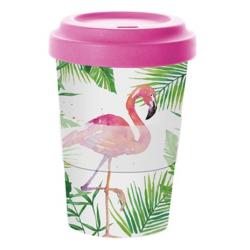 Bambusz utazó bögre tetővel 0,4l, Tropical Flamingo