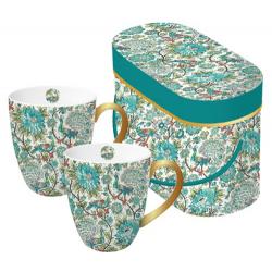 Porcelán bögre 0,35l dobozban 2db-os, Tassotti Design zöld