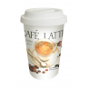 Duplafalú porcelán bögre szilikon tetővel 0,3l, Caffee Latte