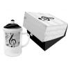 Üveg bögre porcelán szűrővel,tetővel 0,4l,dobozban,I Love Music
