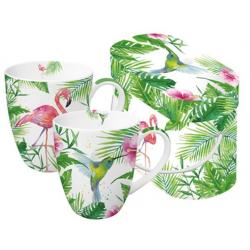 Porcelán bögre 0,35l dobozban 2db-os, Tropical Flamingo