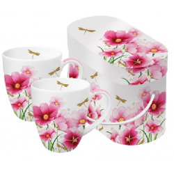 Porcelán bögre 0,35l dobozban 2db-os,Flowers & Dragonfly