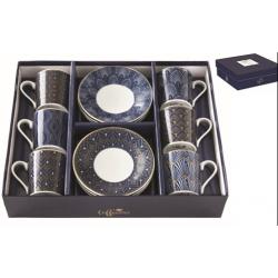 Porcelán espresso csésze+alj 6 személyes, 100ml, dobozban, Coffee Mania Art Deco