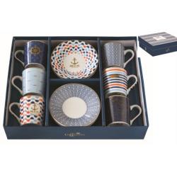 Porcelán espresso csésze+alj 6 személyes, 100ml, dobozban, Coffee Mania Bord De Mer