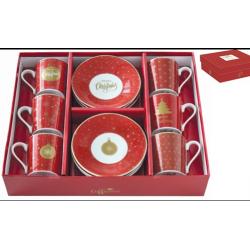 Porcelán espresso csésze+alj 6 személyes, 100ml, dobozban, Coffee Mania Christmas