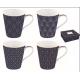 Porcelán bögre 4db-os 260ml, dobozban - Coffee Mania/ Art Deco
