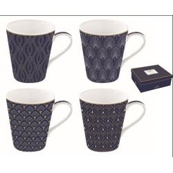Porcelán bögre 4db-os 300ml, dobozban, Coffee Mania Art Deco