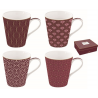 Porcelán bögre 4db-os 260ml, dobozban - Coffee Mania/ Damask