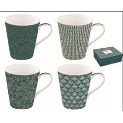 Porcelán bögre 4db-os 260ml, dobozban, Coffee Mania / Eden