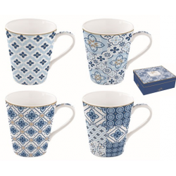 Porcelán bögre 4db-os 260ml, dobozban - Coffee Mania/ Tiles blue