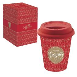 Duplafalú porcelán utazóbögre szilikon tetővel 220ml, Coffee Mania / Merry Christmas