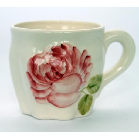 Régi rózsás bögre,kerámia,kézzel festett