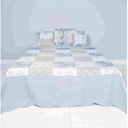 Patchwork steppelt ágytakaró - fehér szürke rózsás (180x260)