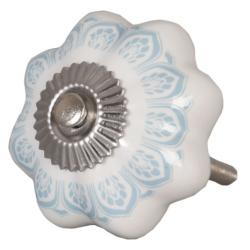 Ajtófogantyú 4,5cm, fehér türkiz mintával, ezüst rátéttel