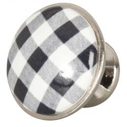 Ajtófogantyú 3cm, fekete-fehér kockás, ezüst kerettel
