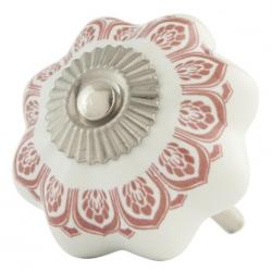 Ajtófogantyú 4 cm,fehér-rózsaszín kerámia