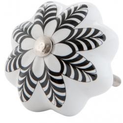 Ajtófogantyú 4 cm fehér,fekete mintával