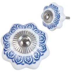 Ajtófogantyú porcelán 4cm, fehér kék mintás