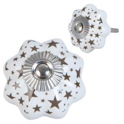 Ajtófogantyú porcelán 4x4cm, fehér csillag mintával