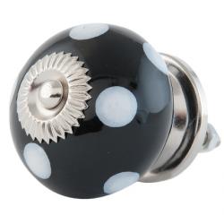 Ajtófogantyú kerámia 4cm, gömb, fekete fehér pöttyökkel ezüst rátéttel