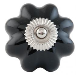 Ajtófogantyú porcelán gömb 4cm, fekete-fém közép