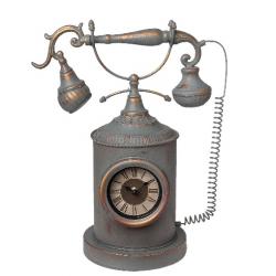 Fém asztali óra telefon alakú 34x18x43cm,szürke antik