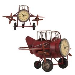 Nosztalgikus fém repülőmodell órával 26x17x15cm,piros