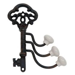 Fém akasztó kulcs alakú 6x13x10cm, fehér porcelán gommbal