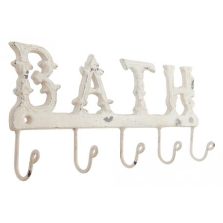 Fém fali akasztó 5-ös antikolt, krém 26x12cm, Bath