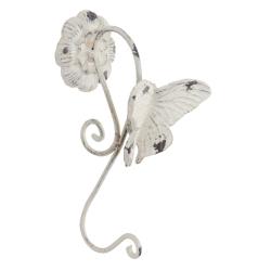 Fém fali akasztó 1-es pillangós 11x11x24cm, antikolt krém színű