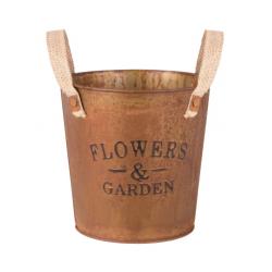 Fém kerek virágtartó barna rozsdázott, Flowers & Garden
