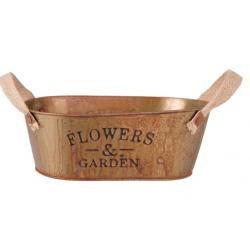 Fém Ovál virágtartó barna rozsdázott, Flowers & Garden