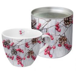 Porcelán bögre 0,45l dobozban fém tetővel, Berries on Wood
