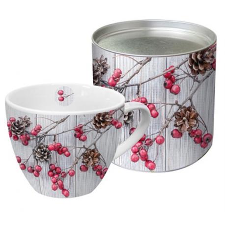 Porcelán bögre 0,45l dobozban fém tetővel