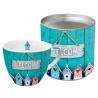 Porcelán bögre 0,45l dobozban fém tetővel, Welcome Home