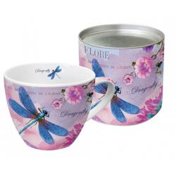 Porcelán bögre 0,45l dobozban fém tetővel, Blue Dragonfly