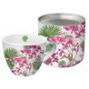 Porcelán bögre 0,45l dobozban fém tetővel, Orchids&Palms