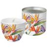 Porcelán bögre 0,45l dobozban fém tetővel, Parrot Flower