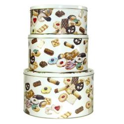 Fém tárolódoboz szett, 3 db-os / Cookies