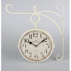 Vasúti óra , fehér fém 38x39x7cm, Paris