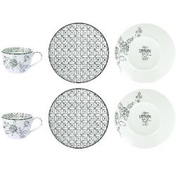 Porcelán teás csésze + alj 2 személyes, 240ml, Urban Chic