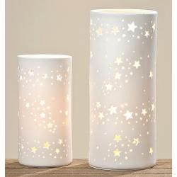 Fehér porcelán átvilágítós asztali lámpa 28x12,5cm