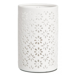 Asztali kerámia lámpa 12x20cm, fehér virág dekorral