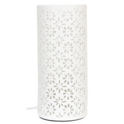 Asztali kerámia lámpa 12x28cm, fehér virág dekorral
