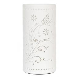 Asztali kerámia lámpa 12x25cm, fehér virág dekorral