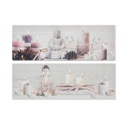 Falikép, 30X90X2cm - Buddha, Gyertyás