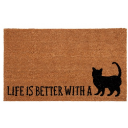 "Lábtörlő 75x45cm, macskás ""Life is better with a Cat"""
