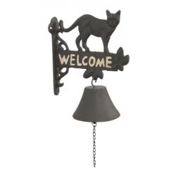 Öntöttvas fali kolomp - macskás, Welcome felirattal